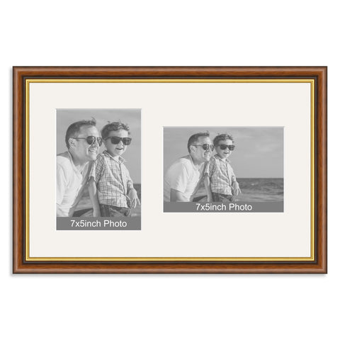 Mahogany & Gold Wooden Multi Aperture Frame for two 7x5/5x7in photos (one portrait/one landscape)