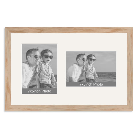 Solid Oak Multi Aperture Frame for two 7x5/5x7in photos (one portrait/one landscape)