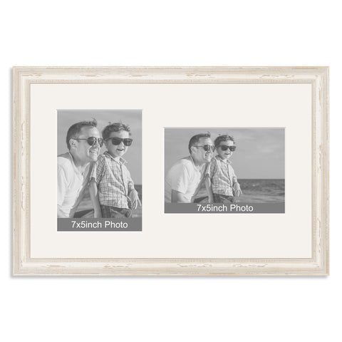 White Shabby Chic Wooden Multi Aperture Frame for two 7x5/5x7in photos (one portrait/one landscape)