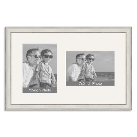 Silver Wooden Multi Aperture Frame for two 7x5/5x7in photos (one portrait/one landscape)