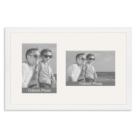 White Wooden Multi Aperture Frame for two 7x5/5x7in photos (one portrait/one landscape)