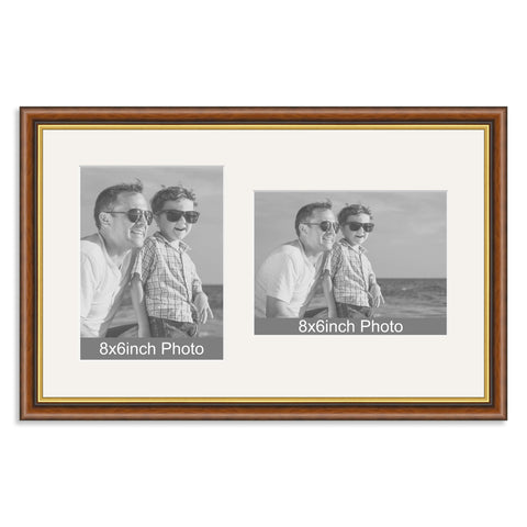 Mahogany & Gold Wooden Multi Aperture Frame for two 8x6/6x8in photos (one portrait/one landscape)