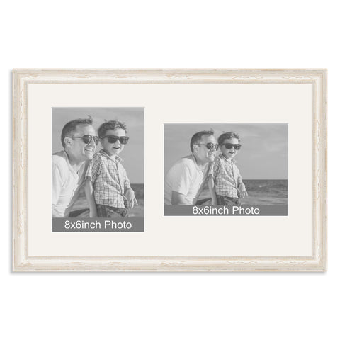 White Shabby Chic Wooden Multi Aperture Frame for two 8x6/6x8in photos (one portrait/one landscape)