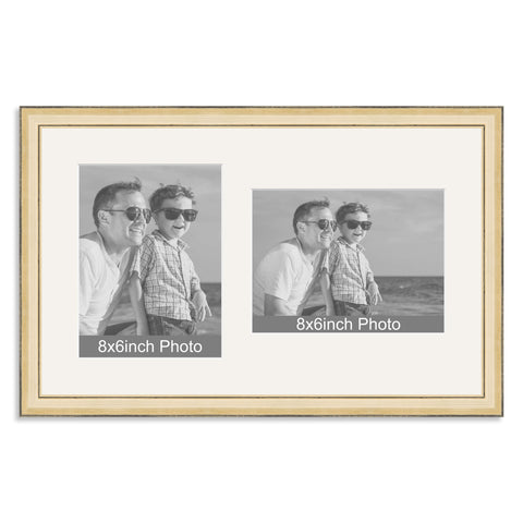 Gold Wooden Multi Aperture Frame for two 8x6/6x8in photos (one portrait/one landscape)