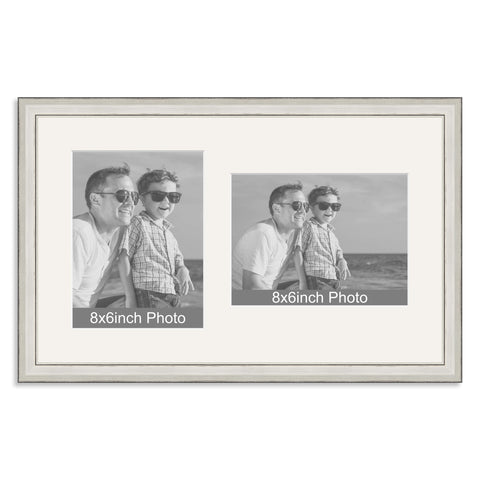 Silver Wooden Multi Aperture Frame for two 8x6/6x8in photos (one portrait/one landscape)