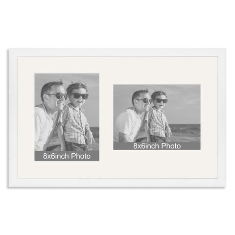 White Wooden Multi Aperture Frame for two 8x6/6x8in photos (one portrait/one landscape)