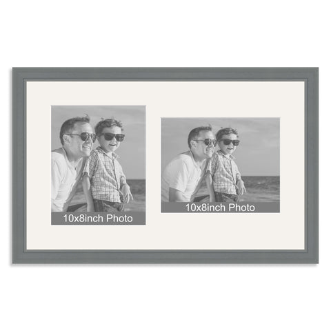 Grey Wooden Multi Aperture Frame for two 10x8/8x10in photos (one portrait/one landscape)