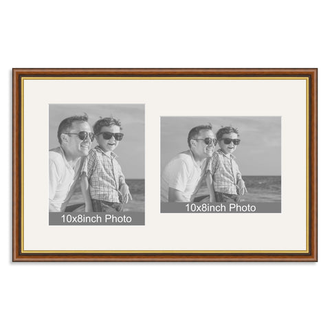 Mahogany & Gold Wooden Multi Aperture Frame for two 10x8/8x10in photos (one portrait/one landscape)