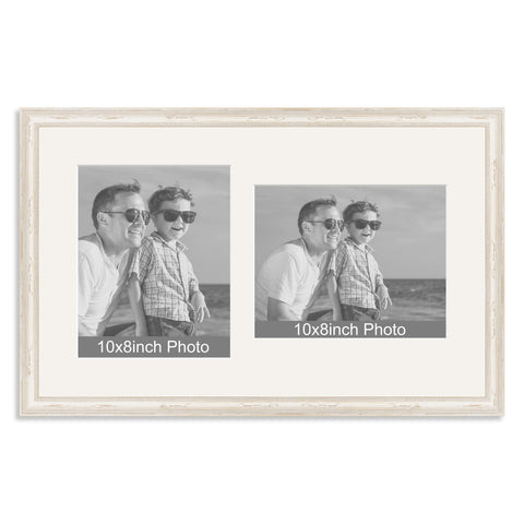 White Shabby Chic Wooden Multi Aperture Frame for two 10x8/8x10in photos (one portrait/one landscape)