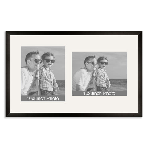 Black Wooden Multi Aperture Frame for two 10x8/8x10in photos (one portrait/one landscape)