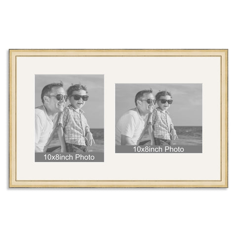 Gold Wooden Multi Aperture Frame for two 10x8/8x10in photos (one portrait/one landscape)