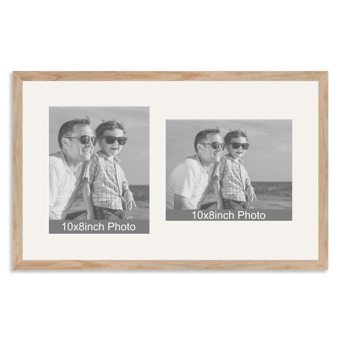 Solid Oak Multi Aperture Frame for two 10x8/8x10in photos (one portrait/one landscape)