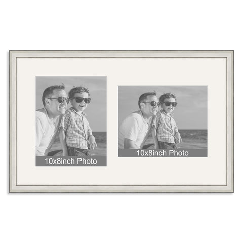 Silver Wooden Multi Aperture Frame for two 10x8/8x10in photos (one portrait/one landscape)