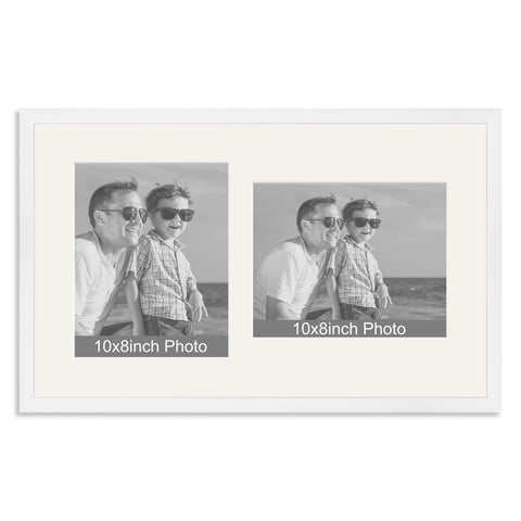 White Wooden Multi Aperture Frame for two 10x8/8x10in photos (one portrait/one landscape)
