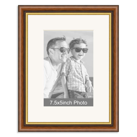 Mahogany & Gold Wooden Photo Frame with mount for a 7.5x5/5x7.5in Photo