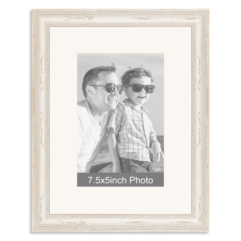 White Shabby Chic Wooden Photo Frame with mount for a 7.5x5/5x7.5in Photo