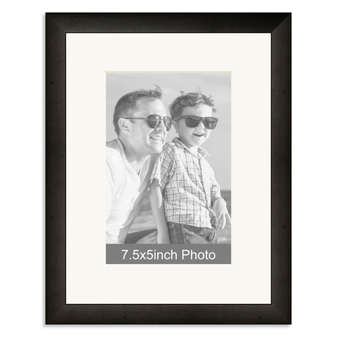 Black Wooden Photo Frame with mount for a 7.5x5/5x7.5in Photo