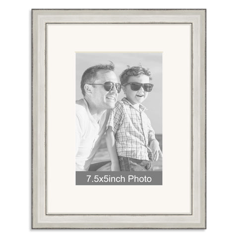 Silver Wooden Photo Frame with mount for a 7.5x5/5x7.5in Photo