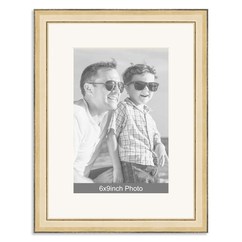 Gold Wooden Photo Frame with mount for a 9x6/6x9in Photo