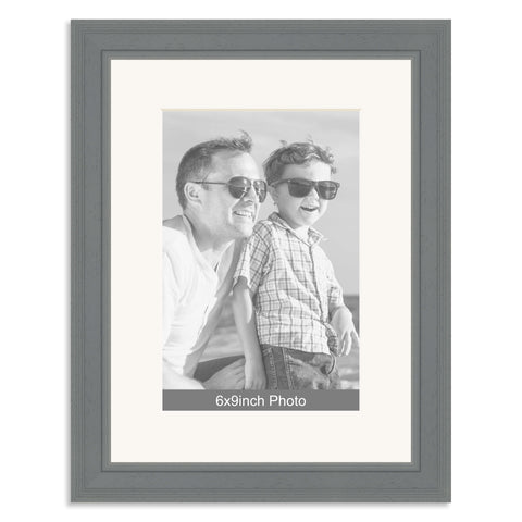 Grey Wooden Photo Frame With Mount For A 9x66x9in Photo