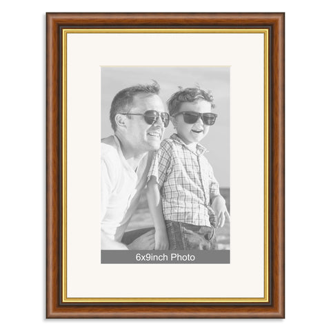Mahogany & Gold Wooden Photo Frame with mount for a 9x6/6x9in Photo