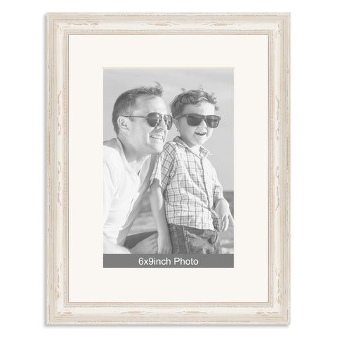 White Shabby Chic Wooden Photo Frame with mount for a 9x6/6x9in Photo