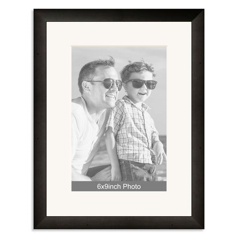 Black Wooden Photo Frame with mount for a 9x6/6x9in Photo