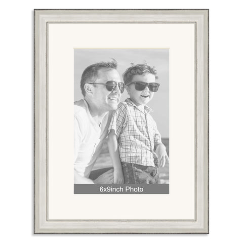 Silver Wooden Photo Frame with mount for a 9x6/6x9in Photo