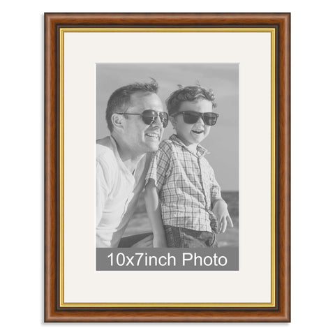 Mahogany & Gold Wooden Photo Frame with mount for a 7x10/10x7in Photo