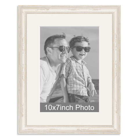 White Shabby Chic Wooden Photo Frame with mount for a 7x10/10x7in Photo