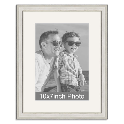 Silver Wooden Photo Frame with mount for a 7x10/10x7in Photo