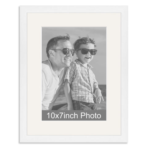 White Wooden Photo Frame with mount for a 7x10/10x7in Photo