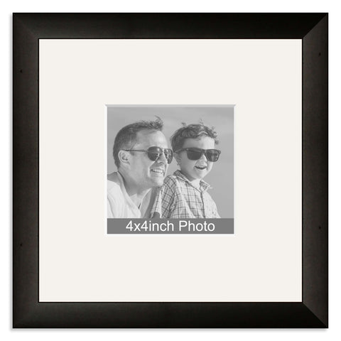 Black Wooden Photo Frame with mount for a 4x4in Photo