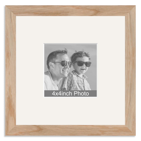 Solid Oak Photo Frame with mount for a 4x4in Photo