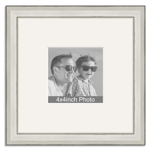 Silver Wooden Photo Frame with mount for a 4x4in Photo