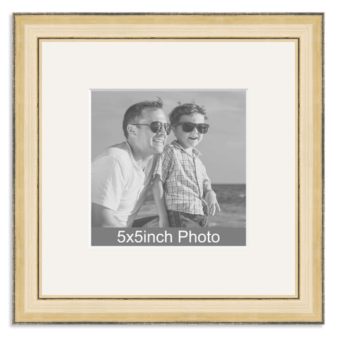 Gold Wooden Photo Frame with mount for a 5x5in Photo