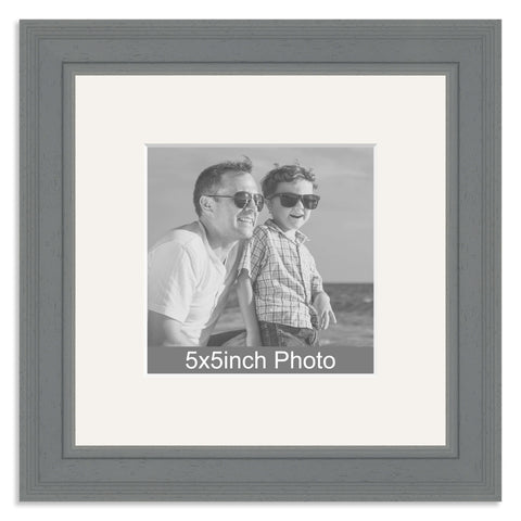 Grey Wooden Photo Frame with mount for a 5x5in Photo