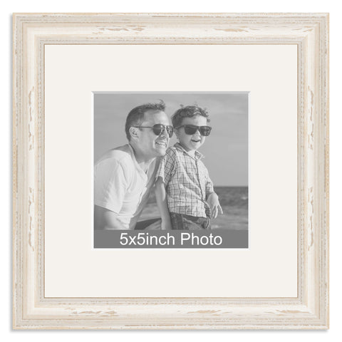 White Shabby Chic Wooden Photo Frame with mount for a 5x5in Photo