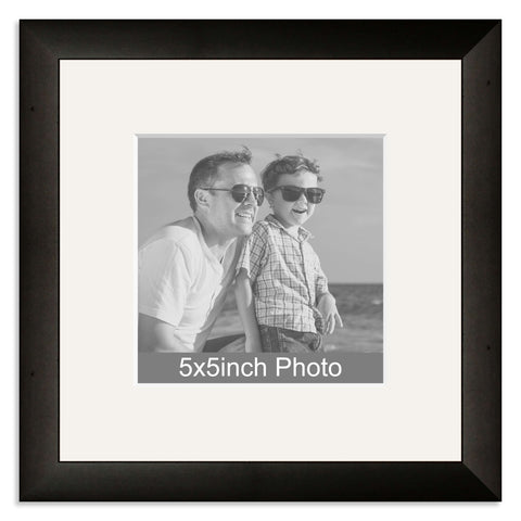 Black Wooden Photo Frame with mount for a 5x5in Photo