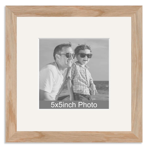Solid Oak Photo Frame with mount for a 5x5in Photo