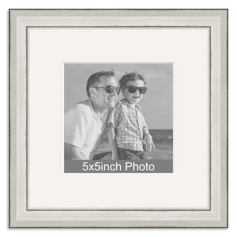 Silver Wooden Photo Frame with mount for a 5x5in Photo