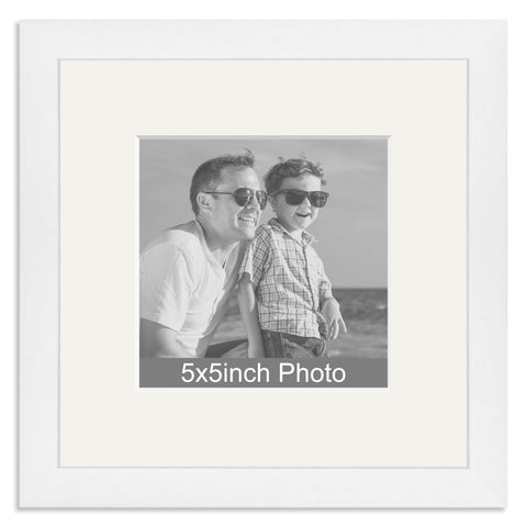 White Wooden Photo Frame with mount for a 5x5in Photo