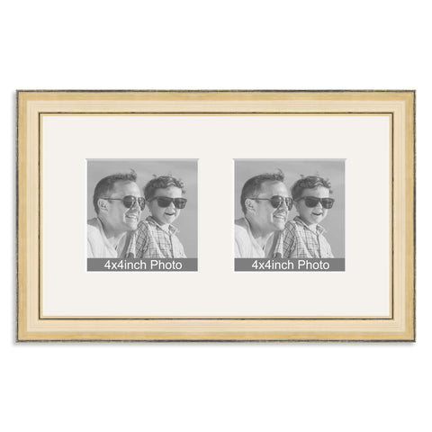 Gold Wooden Multi Aperture Frame for two 4x4in photos