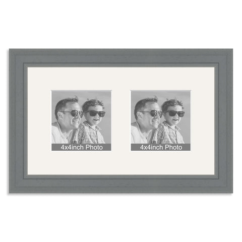 Grey Wooden Multi Aperture Frame for two 4x4in photos