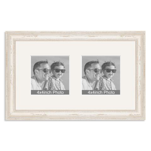 White Shabby Chic Wooden Multi Aperture Frame for two 4x4in photos