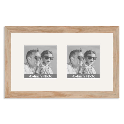 Solid Oak Multi Aperture Frame for two 4x4in photos