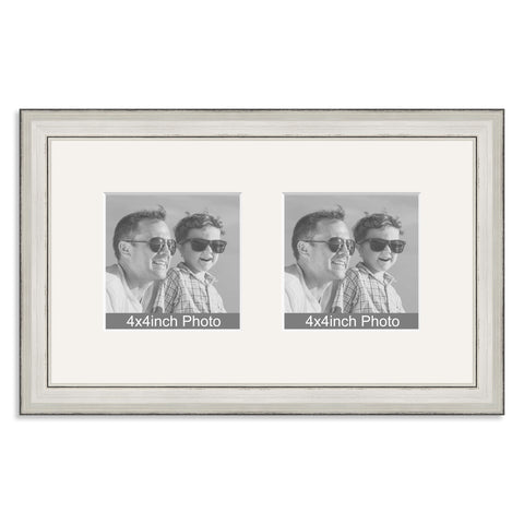 Silver Wooden Multi Aperture Frame for two 4x4in photos