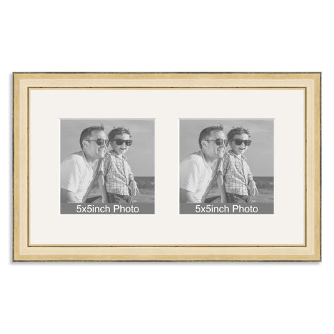Gold Wooden Multi Aperture Frame for two 5x5in photos