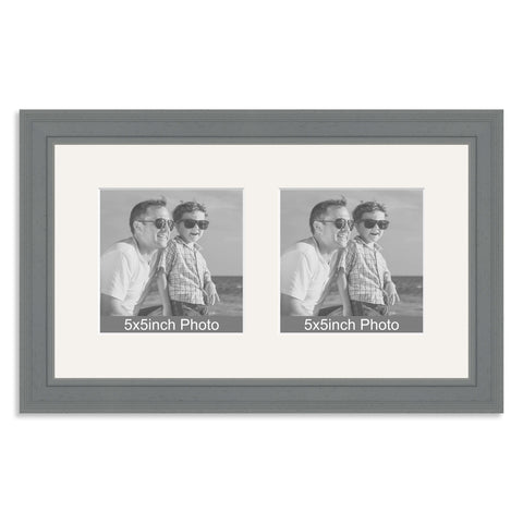 Grey Wooden Multi Aperture Frame for two 5x5in photos