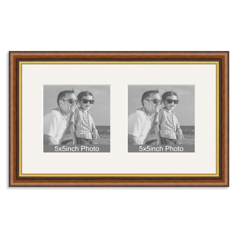 Mahogany & Gold Wooden Multi Aperture Frame for two 5x5in photos